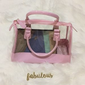 Jessica Simpson pink and clear handbag